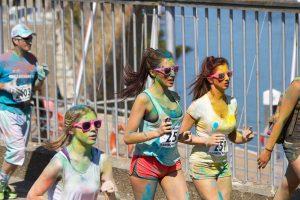 A color run (fun run) fundraiser in action.