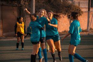 Soccer team celebrating success