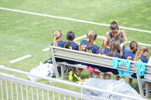 Youth soccer team supported by a booster club
