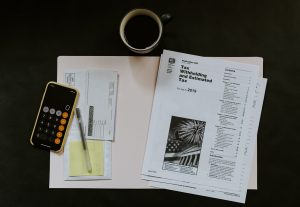 Tax filing papers for the IRS.