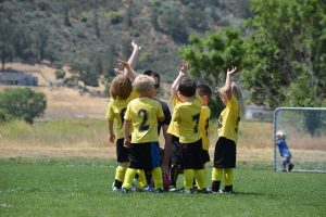 Kids soccer team supported by a local booster club organization.