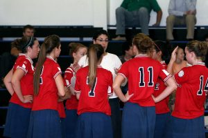 Volleyball team talking to coach