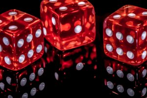 Casino style dice on a table