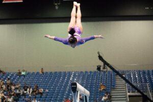 Gymnastics event supported by gymnastics booster club.